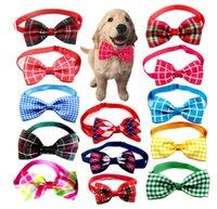 Grid Cat Dog Ties Bow Neckties Adjustable Collar 13 Colors Pet Collars Dogs Grooming Accessories