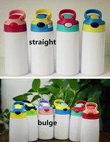 DIY Sublimation 12oz Watter Bottle Vaso recto Acero inoxidable Sippy Cup 350ml Tazas de paja Buena calidad para niños Stock