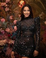 Sexy Black Sequins O NeckShort Prom Dresses 2022 See Through Beaded Party Gowns With Long Sleeve Mermaid Mini Cocktail Homecoming Dress