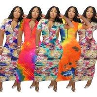 Женщины дизайнерские платья лето с коротким рукавом длинные женщины платье с молнией случайные контрастные цвета женская одежда