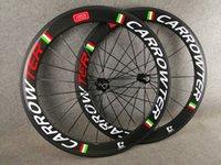 3K لامع مجفف 60 ملليمتر كربون الطريق دراجة عجلات مع العلم الإيطالي الأبيض شعار أحمر أحمر 23 ملليمتر عرض novatec 271 محور دراجة العجلات