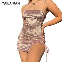 2021European American Cross-fronteira Verão Mulheres One-Ombro Moda Sexy Hollow Drawstring Lace Ins Slim Dress Streetwear Vestidos Casuais