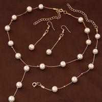 Gioielli di modo di perle simulato per le donne Ragazza Dichiarazione di nozze Collana orecchini e braccialetto Set gioielli da partito 2021