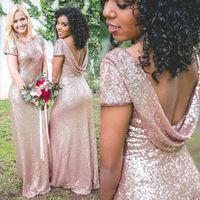 Gül Altın Glitter Payetli Gelinlik Modelleri Seksi Backless Jewel Boyun Düğün Parti Konuklar Kısa Kollu Kat Uzunluk Hizmetçi Onur Elbise Parlak Kızlar AL9018