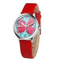 50шт мультфильм звезды розовый бантик девочек дети дети часы студенты мода платье кожаные кварцевые наручные часы партии подарки часов