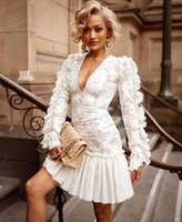 Casual Dresses Vintage Women Dress Sexy Clubwear White Long Sleeve Deep V Neck Embroidery Lace Ruffles Mini Party Vestido Vadim Femme