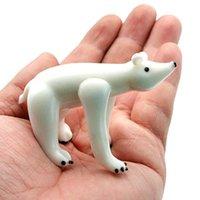 Mini Murano Glass Animal Figurines Figurines Cute Vivid Simulation Полярный Медвежьем Новый Годовой подарок для детей Новогодний подарок для детей