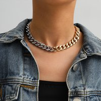 펑크 골드 / 실버 컬러 비대칭 chunky 금속 체인 초커 목걸이 여성 패션 혼합 두꺼운 체인 링크 목걸이 쥬얼리