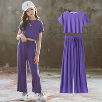 New Arrival Clothes Set for Kids Girls Summer Short Sleeve Exposed Navel T-shirts and Wide Leg Pants Grey Two Piece Outfits 210430