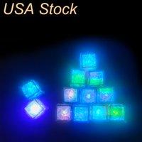 LED 아이스 큐브 멀티 컬러 변화 플래시 야간 조명 크리스마스 웨딩 클럽 파티 장식 조명 램프 미국 주식에 대 한 액체 센서 물 잠수정