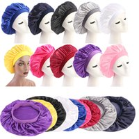 Solid Satin Bonnet Hair Styling Cap Long Hair Care Women Night Sleep Hat Silk Head Wrap Shower Cap Hair Styling ps2157