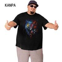 남성용 티셔츠 Kanpa 3D 동물 인쇄 남성 티셔츠 플러스 사이즈 생생한 늑대 애니메이션 큰 티 티셔츠 코튼 여름 옷
