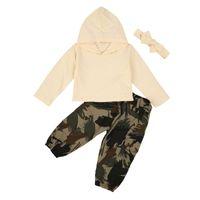 Mode Herbst Kinder Mädchen Kleidung Sets Feste Langarm Kapuzenspitzen + Tarnung Drucken Pants + Stirnband 3 stücke 1-6Y