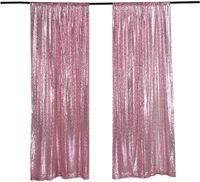 Panneau de rideau de rideau de toile de toile de fond 2x8ft-rose, pographie de paillettes pour la fête / foyer 2pcs