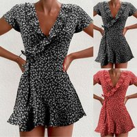Abiti casual Donne Estate 2021 Sexy scollo a V Stampa floreale Boho Beach Dress Ruffle Manica corta A Linea Mini Sundress Robe
