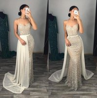 Sparkle Crystals Sequined Prom Dresses Sexy Spaghetti Straps Mermaid Evening Gowns With Detachable Skirt 2021 Arabic Aso Ebi Formal Wear Women Party Dress AL8971