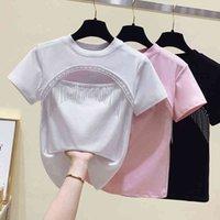 Women's T-Shirt Femme T-shirt 2021 Short t-shirt crop top Summer tops hollow woman out borla cotton short sleeve tshirt women's clothes YYKL
