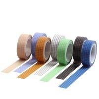 Cadeau Wrap Noir et Blanc Grid Washi Ruban de ruban adhésif Japonais Japonais Paper Adhésif Tapots Stickers Papeterie Décoratif