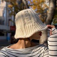 Wide Brim Hats Internet Sensation Tweed Knitting Women Bucket Fishing Twist Solid Color Coarse Wool Luxury Basin Cap Designer Panama Lady