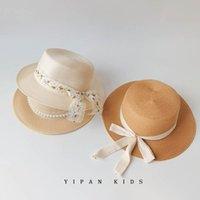 Girls Straw Hat Caps Kids Bucket Hats Children Children'S Summer Pearl Lace Bow Princess Cap B7984