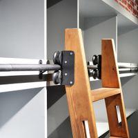 DIYHD Rolling Home Office Biblioteca Ladder Hardware Rústico Trilho de Deslizamento Preto, Top / Bottom Running Wheels, não incluindo escada de madeira