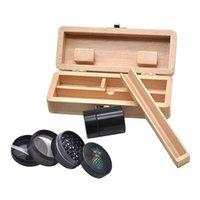 Kit di tabacco in lega di zinco Smoking Herb Grinder per tabacco + contenitore di alluminio contenitore Stash Jar Jar + scatola in legno Stash Box Tabacco per tabacco Tubi a mano 417 R2