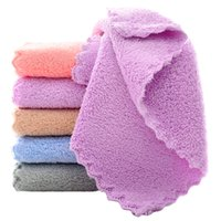 Soft Kitchen Towel Coral fleece Wiping Rags Super Absorbent Non-stick Oil Cleaning Cloth Remover Dish Car Hand Towels Lint Free Home Travel Easy to dry HY0170