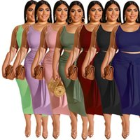 Plus Size XL-5XL Women Two Piece Dress Sleeveless T-shirts+Skirt Summer Jogging Suit Solid Color Crop Top Outfits Stretchy Sportswear Pullover Clothing 4966