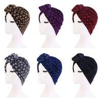 المسلمات النساء الثلوج طباعة عقدة قبعات مقصات عمامة بسط معقود الحجاب غطاء الشعر القبعات الإناث ليلة قبعة