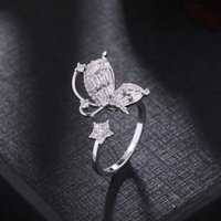 Wedding Rings Luxury Butterfly Open Adjustable For Women Full Crystal Fashion Finger Female Engagement Gothic Ring