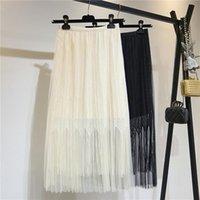 Laço branco saia plissada fêmea primavera chique fada fada mulheres cintura alta fina malha saia das mulheres