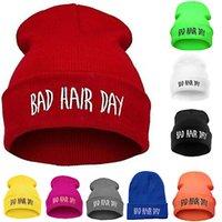 Fashion Sport Warm Winter Hats Bad Hair Day Letter Beanies Cap Women Men Hat Beanie Knitted Hip Hop Hats Bonnet for Unisex