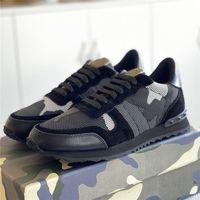 2021 camuflaje de malla zapatillas de deporte para hombre zapatos de remache para mujer Pisos de camuflaje de cuero camuflado transpirable casual de verano entrenador rockrunner zapato Chaussures