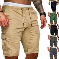 Erkekler Yaz Şort Rahat Katı Cep Egzersiz Pantolon Jogger Pantolon Artı Boyutu M-XXL