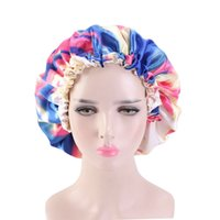 Satin Bonnet tie-dye shower cap Adjustable Double Layer Sleep Caps Woman Parents Tie dyed Turban Hair Cover Night Hat KKB7107