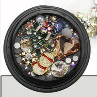 Kits de arte de uñas Rhinestones y tachuelas establecidos para decoraciones de Navidad DIY Tatuajes de manicura Kit de manicura Accesorios de decoración