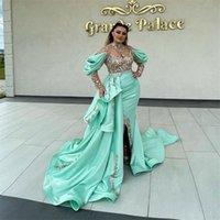 Robe De Soiree Mermaid Split Prom Dresses With Detachable Train High Neck Appliqued Beading Formal Dubai Middle East Evening Party Gown 2021 Celebrity Dress