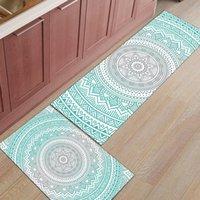 Tapetes Mandala Geometric Gradient Art Cozinha Esteira Anti-deslizamento Área Moderna Tapetes Sala de estar Varanda Tapete Capacete Banheiro