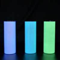 20oz Glow In the Dark Slim Tumbler Sublimation Blank Straight Tumblers Night Light Travel Cup Birthday Gift