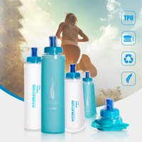 Water Bottles & Cages TPU Soft Bag Running Collapsible Container Outdoor Sports Bottle Transparent Blue Portable Cycling Cup
