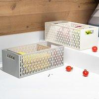 Caixa de armazenamento de plástico Tropónia cutlery Caixas Caixas Desktop Sundries Organizer Cesta Sólida Cor Multifuncional Organizadores DWE10442
