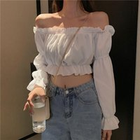 Women T-Shirt Top Sexy Blouse Off Shoulder Top Long Sleeve Solid Color White Shirts Puff Sleeve Ruffle Tunic Crop