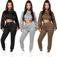 Women Tracksuits 2 PCS Outfits Crew Neck Long Sleeve Crop Top Drawstring Skinny Pants Sportswear Solid Color Gym Fitness Clothes Women's