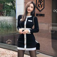 Casual Dresses Golden Buttons Korean Knitted Sweater Dress Women O-Neck Long Sleeve Vintage Mini Luxury Office Lady Pullovers C952