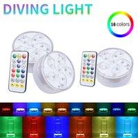 11 LED'ler Dalgıç Gece Lambası IP68 Su Geçirmez Sualtı LED Lamba Pil Kumandalı Kontrollü 16 Renk Değişen Lambalar Uzaktan Gölet Bahçe Dekorasyon Havuz Işıkları