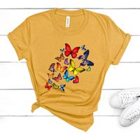 Women's Hoodies & Sweatshirts female fashion with butterfly print short sleeve, casual summer , funny women's kawaii butterfly, tops 6FQ0