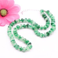 Natural Green Gallocyanine Stone Good Luck Beads Pendant Chain Chokers Necklaces Thread Rope Jewelry For Women 18inch A773