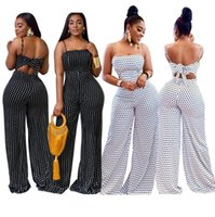 Women's Jumpsuits & Rompers White Polka Dot Pattern Women Casual Spaghetti Sexy Bow Back Strapless Sleeveless Full Length Long Pants
