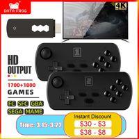 Data Frog 4K TV Retro Video Game Console Y3 3500+ Games for FC SFC GBA SEGA MAME HD Wireless Handheld Prefix 6 Key 2 Joystick 210317