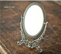 Double-face Foldable Retro Silver tin Table Decorative Mirrordesktop Cosmetic Mirror Embossed Frame Small J020 Mirrors